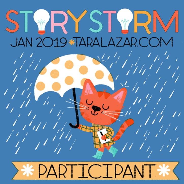 StoryStorm Participant Trophy | Jan 2019 | Taralazar.com | Kitty with umbrella